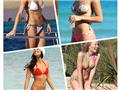 女星海滩度假照尽显热辣好身材