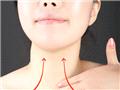 取适量乳霜(颈霜)于掌心温热后,均匀涂抹整个颈部肌肤后,从颈部两侧锁骨顶点的中央处,作为起始点开始按摩。